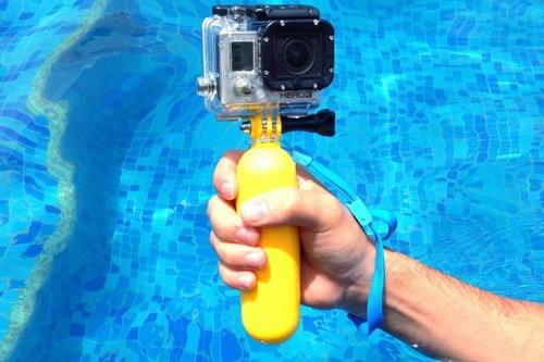 flotador + manilla para cámaras sjcam gopro hero o xiaomi