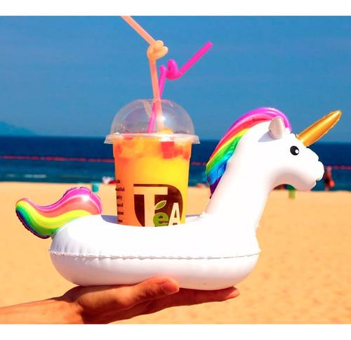 flotador portavasos unicornio pool party