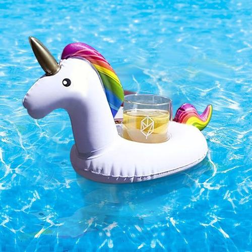 flotador unicornio portavasos inflable piscina pool party 01