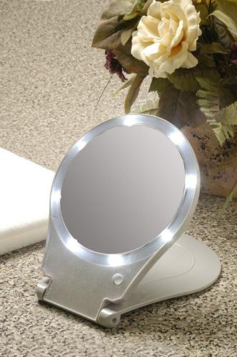 floxite espejo iluminado para viaje y hogar, inclinar, talla