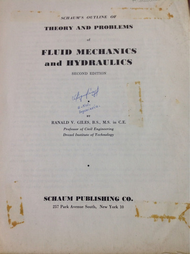 fluid mechanics and hydraulics by ranald v. giles
