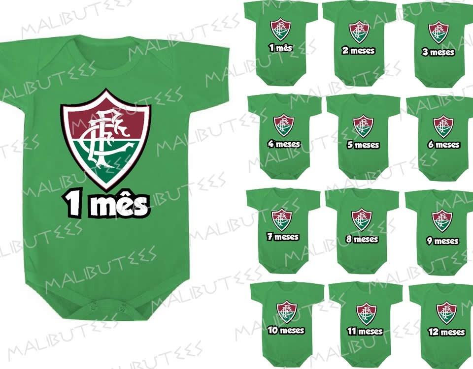 2dff27f254 Fluminense Kit 12 Body Infantil Mês A Mês Mesversario Time - R  249 ...