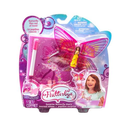 flutterbye diário borboleta rosa multilaser br217