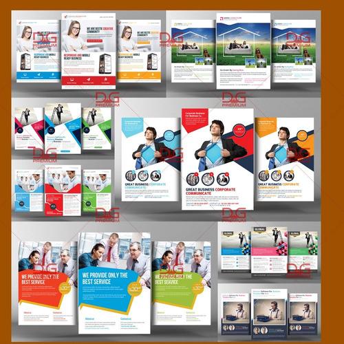 flyers psd 940 modelos + cartão de visita + mockups + bônus