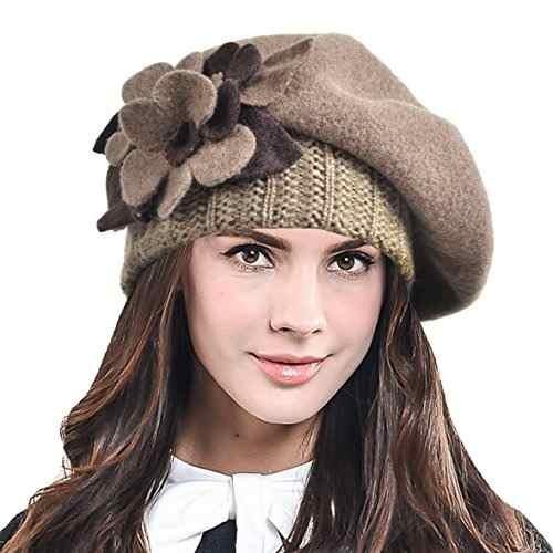 951d47b6bbb83 F n Story Boina De Invierno Francesa Lana Mujer Flor Cafe -   141.650 en  Mercado Libre