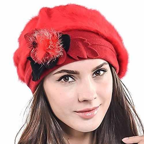 F n Story Boina De Invierno Francesa Lana Mujer Rojo Angora ... 9443a4e6dc4