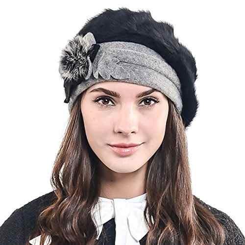 a2633e8aa0120 f n story boina de invierno francesa lana para mujer negro. 4 Fotos