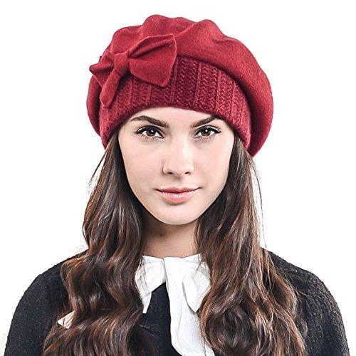 F n Story Boina De Invierno Francesa Lana Para Mujer Rojo ... d04b462d482