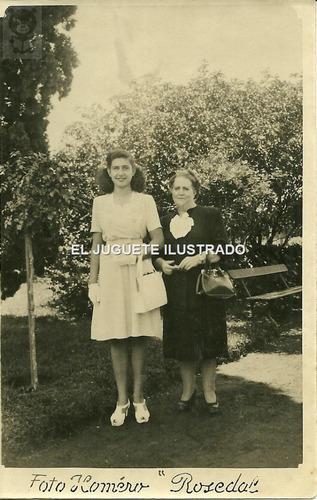 fo20 rosedal palermo 1946 paseo foto postal antigua