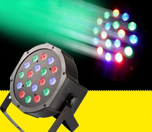 foco 18 led rgb: 18x1w / ventilador / dmx / audioritmico