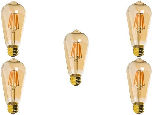 foco edison vintage bulbo led 4w dimeable 5 piezas c/envio
