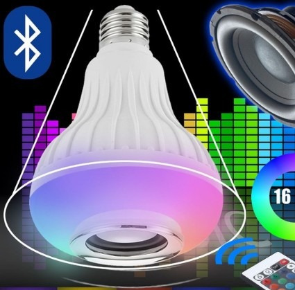 foco inteligente parlante smat led bluethoo multicolor music