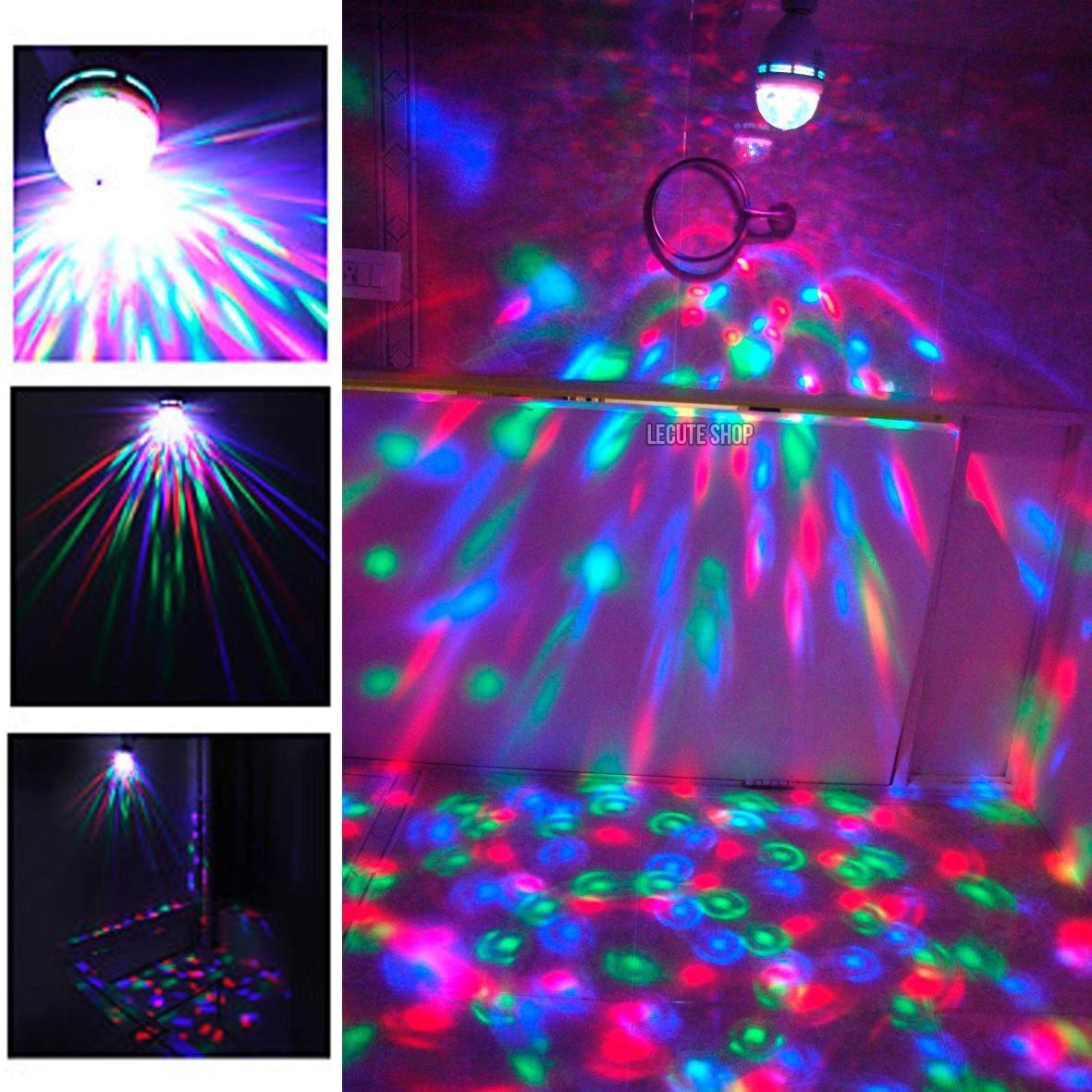 Foco lampara disco led rgb giratorio estrobo fiesta rave bar en mercado libre - Focos led con luces de colores ...