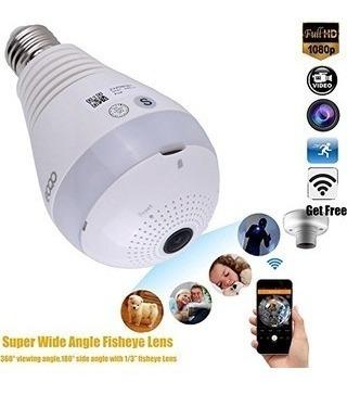 foco lámpara led cámara espía 360° wi-fi sonido