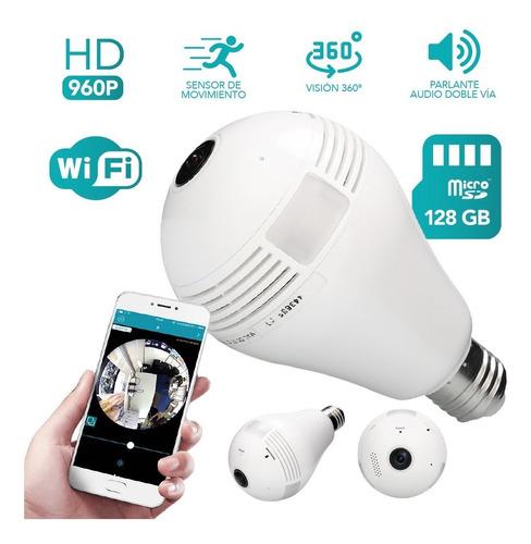 foco lámpara led interna wifi ip seguridad cámara espía hd sonido iluminación real sensor de movimiento