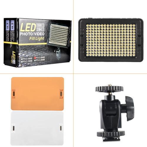 foco led 160 luces flash cámara videograbadora + 2 filtros