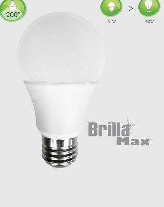foco led a19 5w watts tipo bulbo rosca normal e27 e26