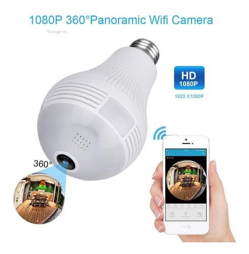 foco led camara ip 360º wifi espia graba ojo de pez - moron