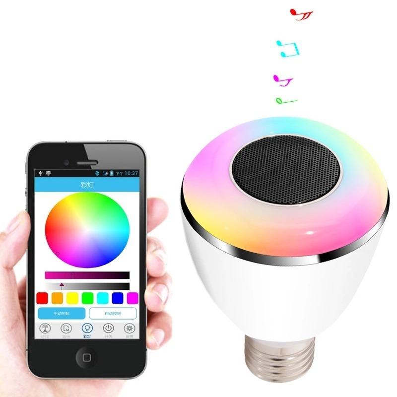 Foco Led Colores Rgb Con Bocina Bluetooth Original 549