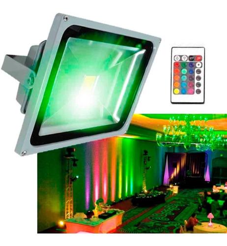 foco led control remoto proyector color rgb 50w certificado