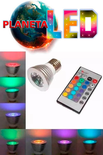 foco led multicolor rgb 3w tipo dicroico 16 colores !