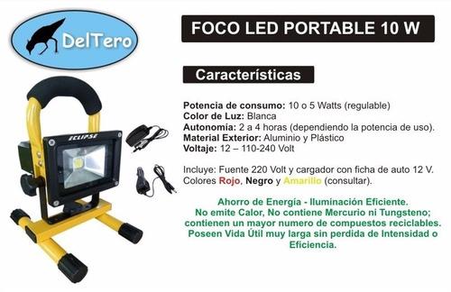 foco led recargable 12 y 220 volt 10 watts con soporte