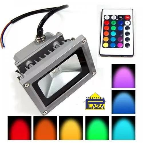 foco led rgb 10w control remoto total cambia colores