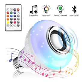 Foco Led Rgb De 12w Con Bocina Bluetooth Y Control Remoto