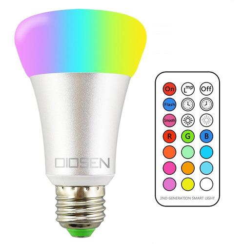 foco led rgbw, bombilla oiosen 10w e26, 12 distintos colore