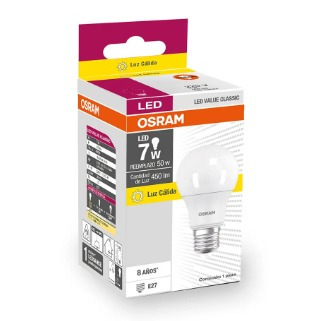 foco led value classic a50 7w/830 220v e27 luz cálida osram