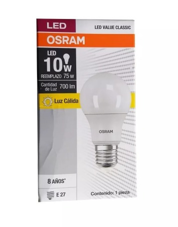 foco led value classic a75 10w/830 220v e27 luz cálida osra