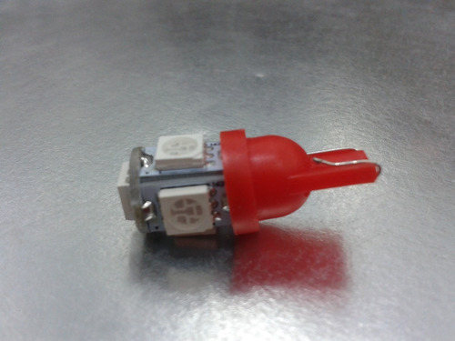 foco microled - 2 focos t10 5 smd 5050 led rojo a 12v