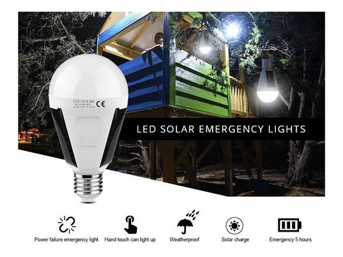 foco panel solar 900lúm 26leds ip65 camping hogar emergencia