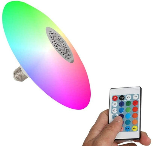 foco parlante bluetooth multicolor led a control remoto