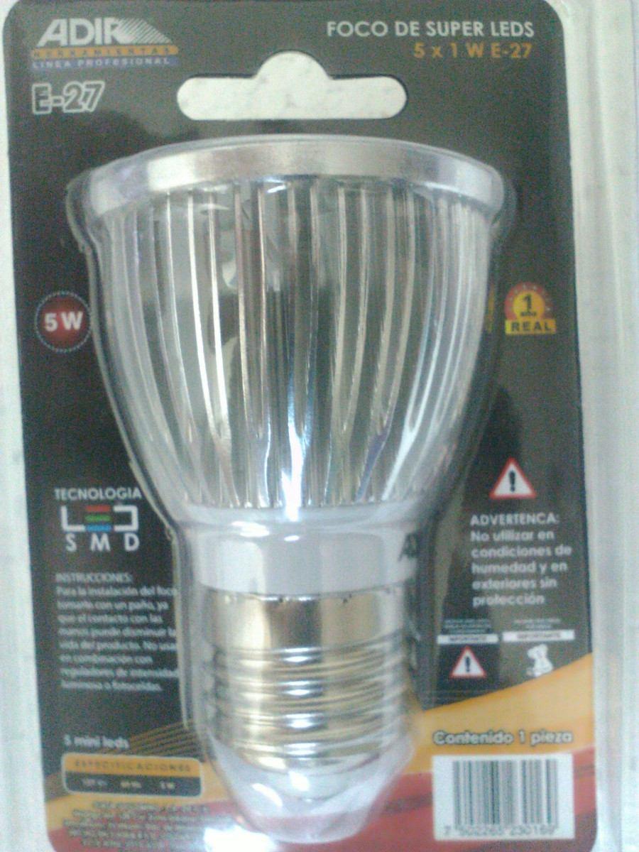 Foco super leds adir luz blanca fria 5watts 60 000horas for Focos led pequenos