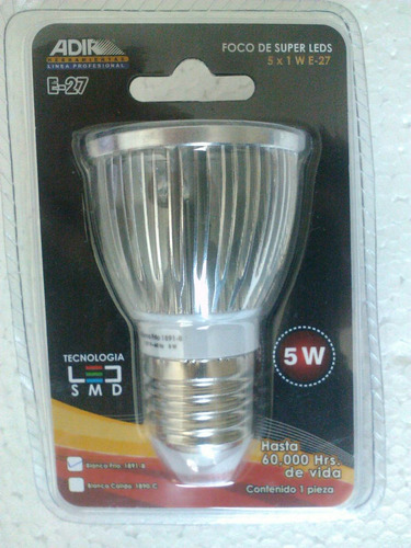 foco super leds adir luz blanca fria 5watts 60,000horas.