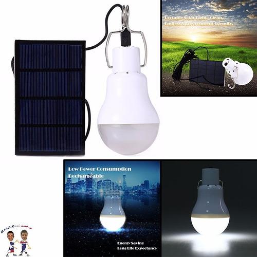 foco y panel solar 20w lampara led portatil bombilla xto