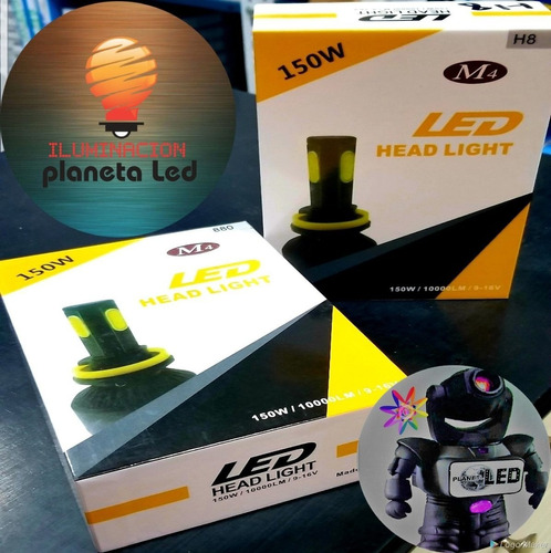 focos luces led 150w 10.000 lm h4 h3 h7 h8 9005 9006potente