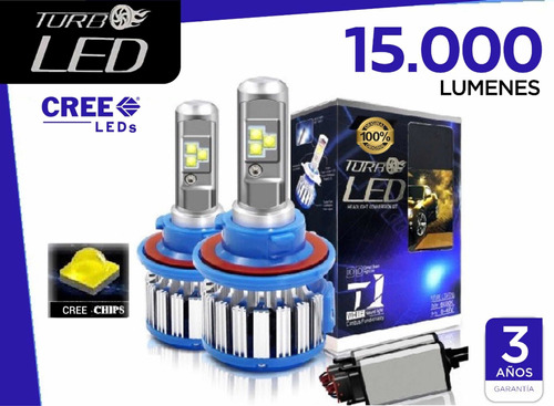 focos luces turbo led original (15.000 lumens) h1,h3,h4,h7..