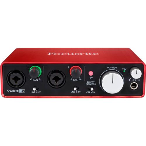 focusrite scarlett 2i2 placa de audio usb grabacion 2da gen