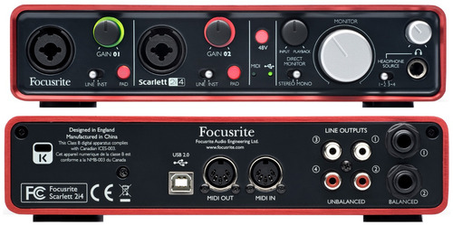 focusrite scarlett 2i4 placa de sonido usb 2.0 2 entradas 4