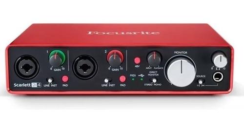 focusrite scarlett 2i4 placa sonido usb 2da generación midi