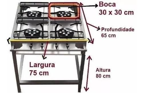 fogao industrial 4 bocas pé registro 8 caulins mang nbr13419