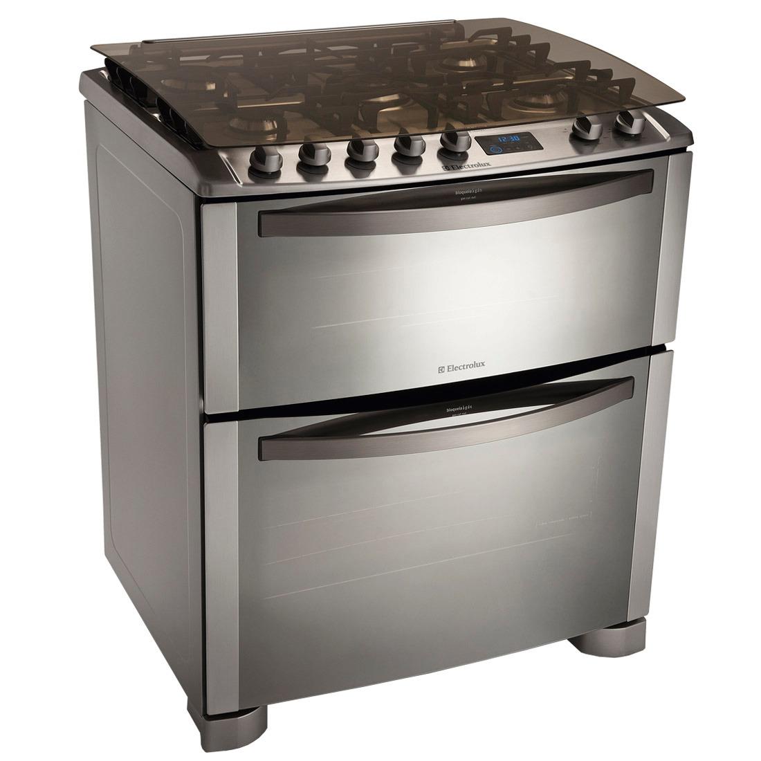 54f34db69 fogão 5 bocas com grill e duplo forno inox 220v- electrolux. Carregando  zoom.