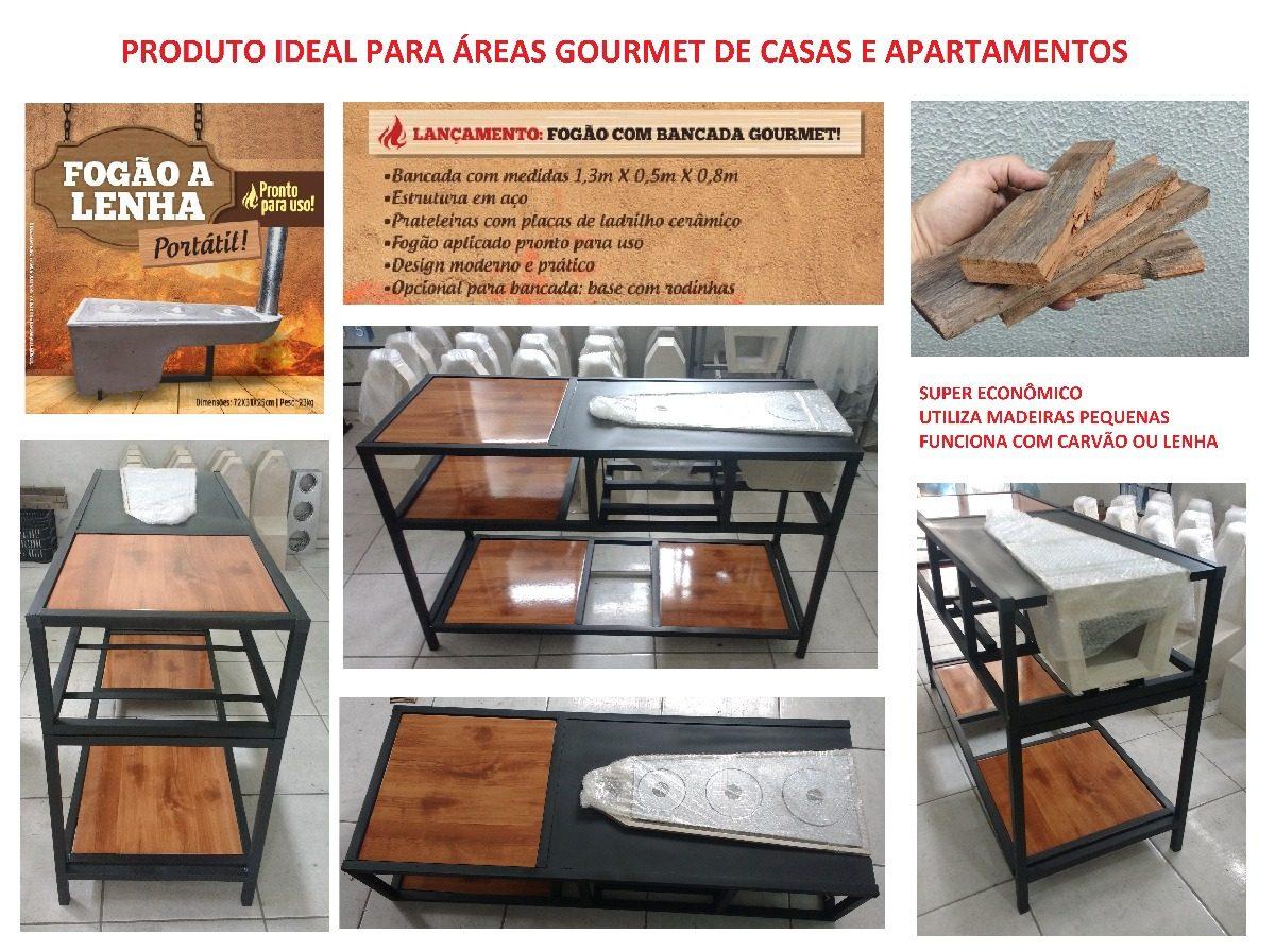 Fog O A Lenha Com Bancada Gourmet R 999 00 Em Mercado Livre ~ Fogao A Lenha Cozinha Moderna