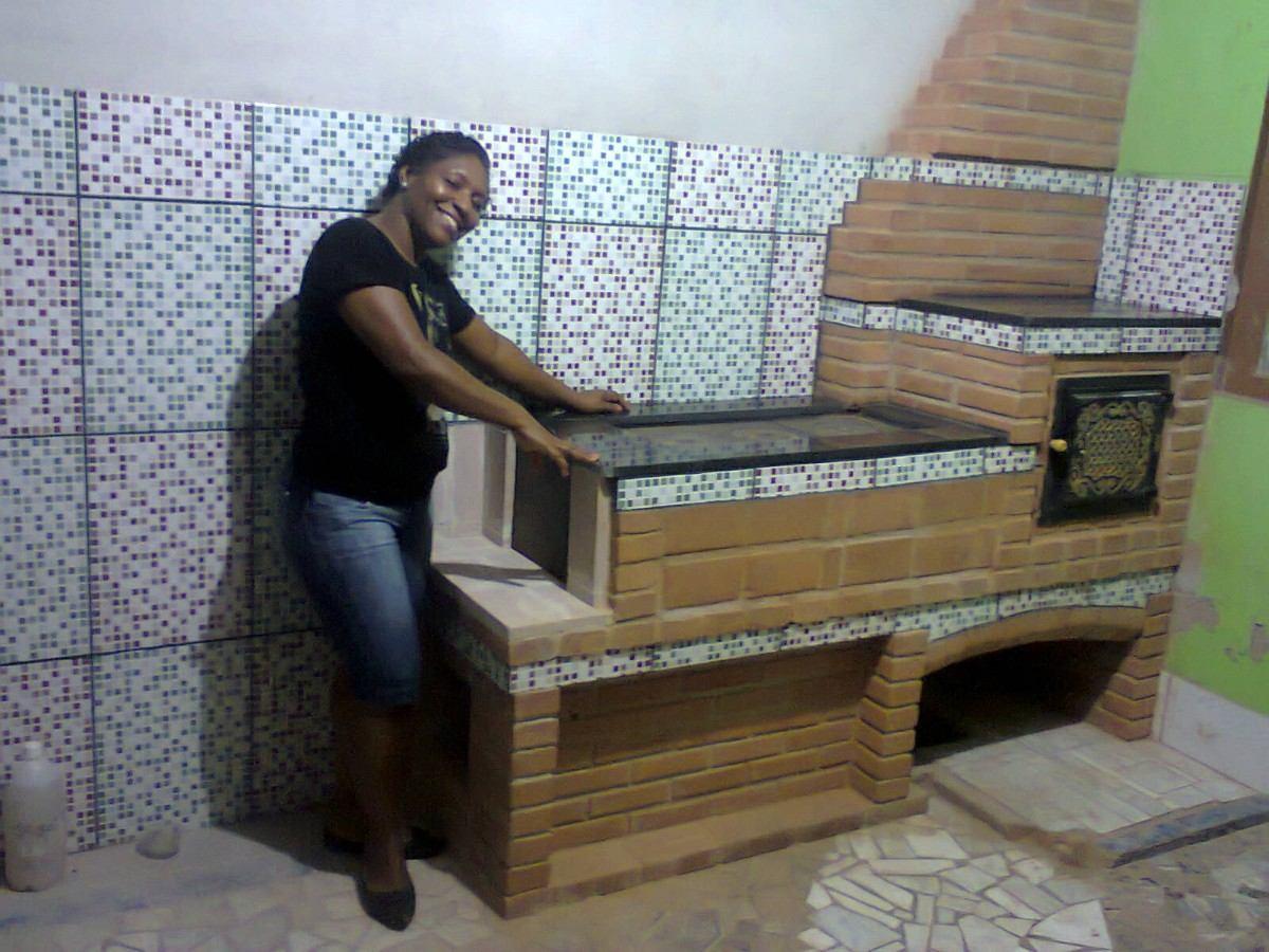 Fogão A Lenha projeto Churrasqueira  projetos R$ 1 20 em Mercado  #604D37 1200 900