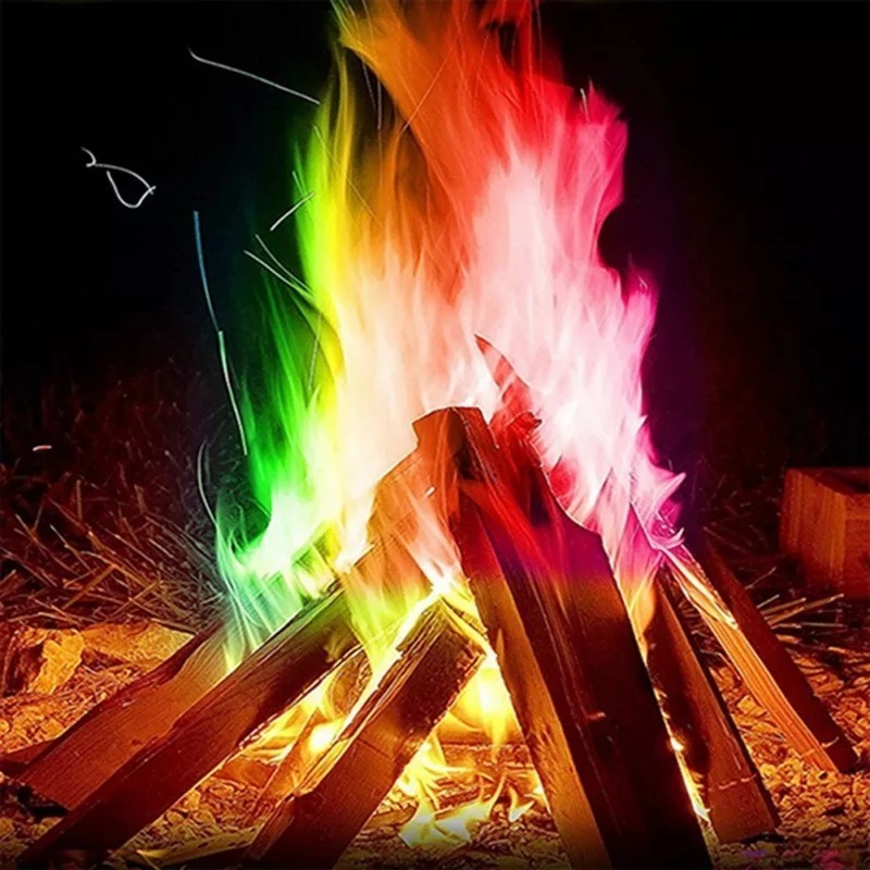 Fogo Colorido 25g Camping Fogo Magico Chamas Po Fogueira Cor R