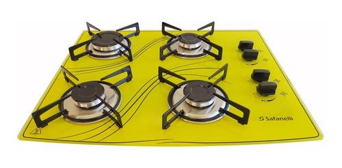 fogão cooktop 4 bocas amarelo 4q lines safanelli fca401