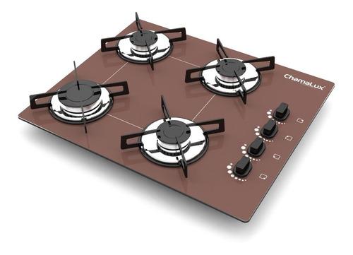 fogão cooktop 4 bocas ultrachama marrom chamalux + brinde!!!