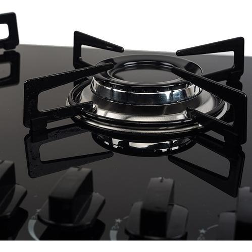 fogão cooktop 5 bocas askoi à gás 2 queimadores grande preto